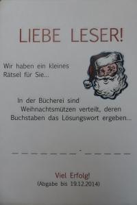 Bücherei Lauenburg Weihnachtsrätsel